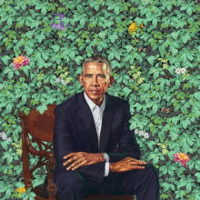 Kehinde Wiley (American, born 1977). Barack Obama, 2018. Oil on canvas, 841/18 × 577/8 × 11/4 in. (213.7 × 147 x 3.2 cm). National Portrait Gallery, Smithsonian Institution. The National Portrait Gallery is grateful to the following lead donors for their support of the Obama portraits: Kate Capshaw and Steven Spielberg, Judith Kern and Kent Whealy, and Tommie L. Pegues and Donald A. Capoccia. © 2018 Kehinde Wiley. (Photo: Courtesy of National Portrait Gallery)