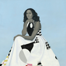 <p>Amy Sherald (American, born 1973). <em>Michelle LaVaughn Robinson Obama</em>, 2018. Oil on linen, 72<sup>1</sup>/<sub>8</sub> x 60<sup>1</sup>/<sub>8</sub> in. (183.2 x 152.7 cm). National Portrait Gallery, Smithsonian Institution. The National Portrait Gallery is grateful to the following lead donors for their support of the Obama portraits: Kate Capshaw and Steven Spielberg, Judith Kern and Kent Whealy, and Tommie L. Pegues and Donald A. Capoccia. (Photo: Courtesy of National Portrait Gallery)</p>