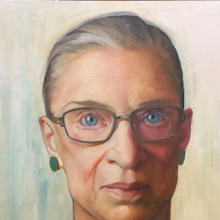 <p>Constance Peck Beaty (American). <em>Large Oil Sketch: Associate Justice Ruth Bader Ginsburg</em>, circa 2015–16. Oil on linen, 42 × 34 × 1<sup>1</sup>/<sub>2</sub> in. (106.7 × 86.4 × 3.8 cm). Brooklyn Museum; Gift of Justice Ruth Bader Ginsburg, 2019.2</p>