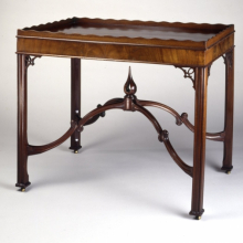 <p><em>Tray-Top Table</em>. Attributed to Robert Harrold (American, born England, 18th century). Portsmouth, New Hampshire, circa 1770. Mahogany, mahogany veneer, 29<sup>1</sup>⁄<sub>4</sub> x 34<sup>1</sup>⁄<sub>2</sub> x 23<sup>1</sup>⁄<sub>2</sub> in. (74.3 × 87.6 × 59.7cm). Brooklyn Museum, Matthew Scott Sloan Collection, Gift of Lidie Lane Sloan McBurney, 1997.150.16</p>