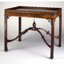 <p><em>Tray-Top Table</em>. Attributed to Robert Harrold (American, b. England, 18th century). Portsmouth, New Hampshire, circa 1770. Mahogany, mahogany veneer, 29<sup>1</sup>&frasl;<sub>4</sub> x 34<sup>1</sup>&frasl;<sub>2</sub> x 23<sup>1</sup>&frasl;<sub>2</sub> in. (74.3 &times; 87.6 &times; 59.7cm). Brooklyn Museum, Matthew Scott Sloan Collection, Gift of Lidie Lane Sloan McBurney, 1997.150.16</p>
