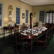 <p><em>Dining Hall, The Cane Acres Plantation</em>. Made by Edward Tongue. Summerville, South Carolina, circa 1789&ndash;1806. Brooklyn Museum, West Virginia Pulp and Paper Company, 24.421</p>