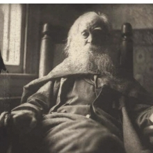 <p>Thomas Cowperthwaite Eakins (American, 1844–1916). <i>Walt Whitman</i>, 1891 (printed 1979). Platinum print, 4<sup>1</sup>⁄<sub>16</sub> x 4<sup>13</sup>⁄<sub>16</sub> in. (10.3 x 12.2 cm). National Portrait Gallery, Smithsonian Institution, NPG.79.65</p>