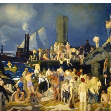 <p>George Wesley Bellows (American, 1882–1925). <i>Riverfront No.1</i>, 1915. Oil on canvas, 45<sup>3</sup>⁄<sub>8</sub> x 63<sup>1</sup>⁄<sub>8</sub> in. (115.3 x 160.3 cm). Columbus Museum of Art, Ohio: Howald Fund Purchase 1951.011</p>