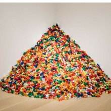 "<p>Félix González-Torres (American, 1957–1996). <i>""Untitled"" (Portrait of Ross in L.A.)</i>, 1991. Candies individually wrapped in multicolored cellophane, endless supply. Overall dimensions vary with installation, ideal weight: 175 lb. The Art Institute of Chicago; promised gift of Donna and Howard Stone. Courtesy of Andrea Rosen Gallery, New York © The Félix González-Torres Foundation</p>"