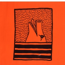 <p>Keith Haring (American, 1958–1990). <i>Untitled</i>, 1980. Ink on orange paper, 36 x 35<sup>1</sup>⁄<sub>2</sub> in. (91.4 x 90.2 cm). Collection Keith Haring Foundation. © Keith Haring Foundation</p>