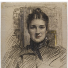 <p>J. Carroll Beckwith (American, 1852–1917). <i>Portrait of Minnie Clark</i>, 1890s. Charcoal and pastel on blue fibered laid paper, 22<sup>3</sup>⁄<sub>8</sub> x 18<sup>1</sup>⁄<sub>4</sub> in. (56.8 x 46.4 cm). Brooklyn Museum, Gift of J. Carroll Beckwith, 17.127</p>
