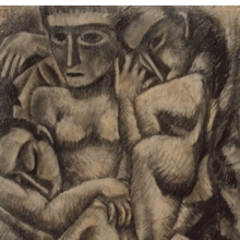 <p>Max Weber (American, b. Russia, 1881–1961). <i>Composition with Four Figures</i>, 1910. Charcoal and pastel on laid paper, 24<sup>1</sup>⁄<sub>4</sub> x 18<sup>1</sup>⁄<sub>4</sub> in. (61.6 x 46.4 cm). Brooklyn Museum, Dick S. Ramsay Fund, 57.17</p>