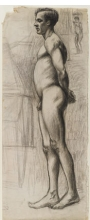 <p>Edward Hopper (American, 1882–1967). <i>Male Nude</i>, circa 1903–4. Graphite and charcoal on cream paper, 24 x 9<sup>5</sup>⁄<sub>8</sub> in. (61 x 24.4 cm). Brooklyn Museum, Gift of Mr. and Mrs. Morton Ostrow, 82.253.2</p>