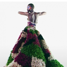 "<p>Karl Lagerfeld (German, b. 1935). <i>Untitled (Alek Wek) Numéro</i>, March 2000. ""Dubar"" gown from Jean Paul Gaultier's ""Romantic India"" women's spring-summer haute couture collection of 2000. Camouflage evening gown featuring myriad khaki, cinnamon, papaya tulle ruffles. © Karl Lagerfeld</p>"
