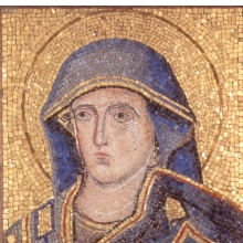 <p>Jacopo Torriti (Italian, documented in Rome 1291–96). <i>Head of the Madonna</i>, 1296. Mosaic. Brooklyn Museum, Museum Collection Fund and the Charles Stewart Smith Memorial Fund, 23.26</p>