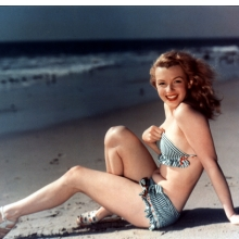 <p>Unknown photographer. <i>Marilyn on the Beach</i>, 1949. Chromogenic color print. Collection of Leon and Michaela Constantiner</p>