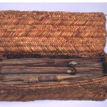 <p><i>Weaver's Work Basket with Spindles</i>. Central Coast, Peru. <small>C.E.</small></p>    1000–1476. Totora reed, cane, wood, clay, camelid and cotton fiber. Gift of Dr. John H. Finney, Basket: 36.755.1. Spindles: 36.755.3; .5; .6; .13; .26; .39; .40; .45; .52; .55; and .57