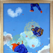 Kehinde Wiley (American, born 1977). Go, 2003, Oil on canvas mounted on five panels. Brooklyn Museum; Mary Smith Dorward Fund