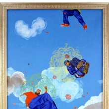 Kehinde Wiley (American, b. 1977). Go, 2003, Oil on canvas mounted on five panels. Brooklyn Museum, Mary Smith Dorward Fund