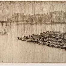 <p>Bertha Jacques (American, 1863–1941). <i>Rain on Thames</i>, 1913. Etchings on paper. Museum of Fine Arts, St. Petersburg, Florida. Museum purchase</p>