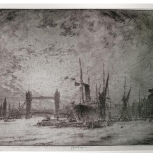 <p>Joseph Pennell (American, 1857–1926). <i>Tower Bridge, Evening</i>, 1905. Etching on paper. Prints and Photographs Division, Library of Congress, Washington, D.C.</p>