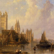 <p>David Roberts (British, 1796–1864). <i>The Houses of Parliament from Millbank</i>, 1861. Oil on canvas. Museum of London. The acquisition of this painting was supported by the Heritage Lottery Fund</p>