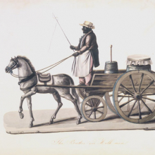 <p>Nicolino V. Calyo (American, born Italy, 1799–1884). <i>The Butter and Milk Man</i>, 1840s. Watercolor over graphite on paper. Brooklyn Museum, Purchased with funds given by Mr. and Mrs. Leonard L. Milberg, 1990.16.</p>