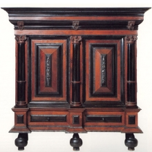 <p>Unknown Maker (The Netherlands). <i>Kas</i>, ca. 1650. Rosewood and ebony veneers over oak and pine. Brooklyn Museum, Gift of Mary van Kleeck in memory of Charles M. van Kleeck, 51.157.1.</p>
