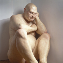 <p>Ron Mueck (Australian, b. 1958). <i>Big Man</i>, 2000. Mixed media, 80 × 47<sup>1</sup>⁄<sub>2</sub> x 80<sup>1</sup>⁄<sub>2</sub> in. (203.2 × 120.7 × 204.5 cm). Hirshhorn Museum and Sculpture Garden, Smithsonian Institution, Washington, D.C. Museum purchase with funds provided by the Joseph H. Hirshhorn Bequest and in honor of Robert Lehrman, Chairman of the Board of Trustees, 1997–2004, for his extraordinary leadership and unstinting service to the Hirshhorn Museum and Sculpture Garden</p>