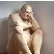 <p>Ron Mueck (Australian, b. 1958). <i>Big Man</i>, 2000. Mixed media, 80 &#215; 47<sup>1</sup>⁄<sub>2</sub> x 80<sup>1</sup>⁄<sub>2</sub> in. (203.2 &#215; 120.7 &#215; 204.5 cm). Hirshhorn Museum and Sculpture Garden, Smithsonian Institution, Washington, D.C. Museum purchase with funds provided by the Joseph H. Hirshhorn Bequest and in honor of Robert Lehrman, Chairman of the Board of Trustees, 1997–2004, for his extraordinary leadership and unstinting service to the Hirshhorn Museum and Sculpture Garden</p>