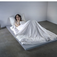 <p>Ron Mueck (Australian, b. 1958). <i>In Bed</i>, 2005. Mixed media, 63<sup>3</sup>⁄<sub>4</sub> x 255<sup>7</sup>⁄<sub>8</sub> x 155<sup>1</sup>⁄<sub>2</sub> in. (161.9 &#215; 649.9 &#215; 395 cm). Private Collection</p>