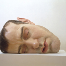 <p>Ron Mueck (Australian, b. 1958). <i>Mask II</i>, 2001–2002. Mixed media, 30<sup>3</sup>⁄<sub>8</sub> x 46<sup>1</sup>⁄<sub>2</sub> x 33<sup>1</sup>⁄<sub>2</sub> in. (77.2 × 118.1 × 85.1 cm). Collection of the Art Supporting Foundation to the San Francisco Museum of Modern Art</p>
