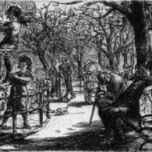 John Sloan (American, 1871–1951). Swinging in the Square, 1912. Etching on laid paper. Brooklyn Museum, Gift of the Louis E. Stern Foundation, Inc., 64.101.322