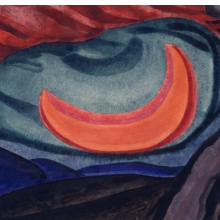 <p>Oscar Bluemner (American, born Prussia, 1867–1938). <i>Loving Moon</i>, 1927. Watercolor, possibly with a surface coating, on cream, medium weight, slightly textured wove paper mounted to thick black woodpulp board. Brooklyn Museum, Bequest of Mrs. Carl L. Selden, 1996.150.9</p>