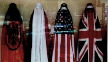 <p>Jean-Ulrick Désert (b. Haiti; works in Germany and United States). <em>The Burqa Project: On the Borders of My Dreams I Encountered My Double's Ghost</em>, 2002. Mannequins and textiles, 63 × 118 in. (160 × 300 cm). Courtesy of the artist</p>