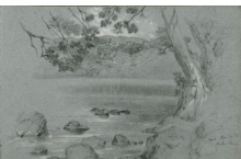 George Henry Hall (American, 1825–1913). Lake Nemi, Italy (April 24, 1852), from sketchbook of Italian and other subjects, 1852–93. Graphite and wash on paper. Brooklyn Museum, Gift of Jennie Brownscombe, 16.758.1