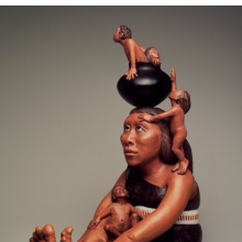 <p>Roxanne Swentzell (American, b. 1962). <i>Making Babies for Indian Market</i>, 2004. Ceramic, pigment. Brooklyn Museum, Gift in memory of Helen Thomas Kennedy, 2004.80</p>