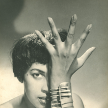 "Model wearing Art Smith's ""Modern Cuff"" Bracelet, circa 1948"
