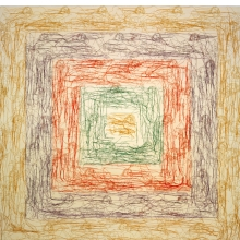 <p>Ghada Amer (American, born Egypt, 1963). <i>The New Albers</i>, 2002. Embroidery and gel medium on canvas. Collection of the artist, courtesy of Gagosian Gallery</p>