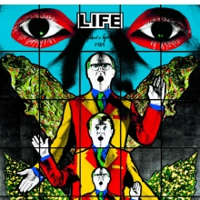 <p>Gilbert &amp; George. <i>Life</i>, from <i>Death Hope Life Fear</i>, 1984. 95<sup>1</sup>⁄<sub>4</sub> x 119<sup>1</sup>⁄<sub>4</sub> in. (241.9 &#215; 302.9 cm). Tate, London, purchased 1990. © Gilbert &amp; George</p>