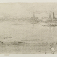 <p>James Abbott McNeill Whistler (American, 1834–1903). <i>Early Morning</i>, 1878. Lithograph (lithotint) on cream, moderately thick, smooth paper. Brooklyn Museum, Gift of the Rembrandt Club, 15.374</p>