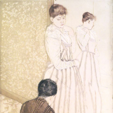 <p>Mary Cassatt (American, 1844–1926). <i>The Fitting</i>, 1890–91. Drypoint and aquatint etching on off-white, moderately thick, moderately textured laid paper. Brooklyn Museum, Dick S. Ramsay Fund, 39.108</p>