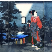 <p>Utagawa Hiroshige (1797&ndash;1858) and Utagawa Kunisada (Toyokuni III, 1786&ndash;1865). <em>Night Garden</em>, 1853. From the series <em>Elegant Prince Genji</em>. Color woodcut. Chazen Museum of Art, John H. Van Vleck Endowment Fund purchase, 2003.14a&ndash;c</p>
