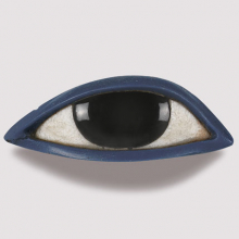 <p><i>Right Eye from an Anthropoid Coffin</i>. Egypt, New Kingdom or later, 1539−30 <small>B.C.E. </small>Obsidian, crystalline limestone, blue glass, <sup>13</sup>⁄<sub>16</sub> x 2<sup>5</sup>⁄<sub>16</sub> x 1 in. (2.1 × 5.8 × 2.6 cm). Brooklyn Museum, Charles Edwin Wilbour Fund, 37.1951E</p>