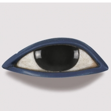 <p><i>Right Eye from an Anthropoid Coffin</i>. Egypt, New Kingdom or later, 1539&minus;30 <small>B.C.E. </small>Obsidian, crystalline limestone, blue glass, <sup>13</sup>&frasl;<sub>16</sub> x 2<sup>5</sup>&frasl;<sub>16</sub> x 1 in. (2.1 &times; 5.8 &times; 2.6 cm). Brooklyn Museum, Charles Edwin Wilbour Fund, 37.1951E</p>