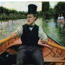 Gustave Caillebotte (French, 1848–1894). Oarsman in a Top Hat, 1877–78. Oil on canvas, 357⁄16 x 461⁄16 in. (90 × 117 cm). Private collection