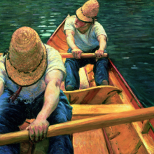 <p>Gustave Caillebotte (French, 1848–1894). <i>Oarsmen Rowing on the Yerres</i>, 1877. Oil on canvas, 31<sup>7</sup>⁄<sub>8</sub> x 45<sup>11</sup>⁄<sub>16</sub> in. (81 × 116 cm). Private collection</p>