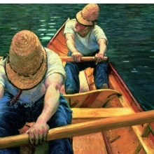 <p>Gustave Caillebotte (French, 1848–1894). <i>Oarsmen Rowing on the Yerres</i>, 1877. Oil on canvas, 31<sup>7</sup>⁄<sub>8</sub> x 45<sup>11</sup>⁄<sub>16</sub> in. (81 &#215; 116 cm). Private collection</p>