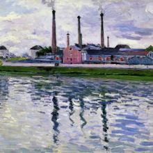 <p>Gustave Caillebotte (French, 1848–1894). <i>Factories in Argenteuil</i>, 1888. Oil on canvas, 25<sup>9</sup>⁄<sub>16</sub> x 32<sup>5</sup>⁄<sub>16</sub> in. (65 × 82 cm). Private collection</p>