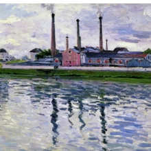 <p>Gustave Caillebotte (French, 1848–1894). <i>Factories in Argenteuil</i>, 1888. Oil on canvas, 25<sup>9</sup>⁄<sub>16</sub> x 32<sup>5</sup>⁄<sub>16</sub> in. (65 &#215; 82 cm). Private collection</p>