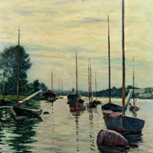 <p>Gustave Caillebotte (French, 1848–1894). <i>Boats Moored on the Seine</i>, 1892. Oil on canvas, 28<sup>3</sup>⁄<sub>4</sub> x 23<sup>5</sup>⁄<sub>8</sub> in. (73 × 60 cm). Private Collection</p>