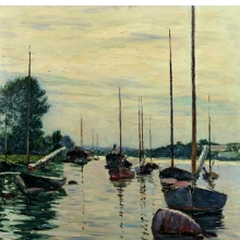 <p>Gustave Caillebotte (French, 1848–1894). <i>Boats Moored on the Seine</i>, 1892. Oil on canvas, 28<sup>3</sup>⁄<sub>4</sub> x 23<sup>5</sup>⁄<sub>8</sub> in. (73 &#215; 60 cm). Private Collection</p>