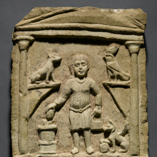 <p><i>Funerary Stela of C. Julius Valerius</i>. Egypt, exact provenance unknown, 3rd century <small>C.E.</small> Limestone, traces of paint, 14<sup>1</sup>⁄<sub>16</sub> x 10<sup>3</sup>⁄<sub>16</sub> x 1<sup>13</sup>⁄<sub>16</sub> in. (35.7 × 25.8 × 4.6 cm). Brooklyn Museum, Gift of Evangeline Wilbour Blashfield, Theodora Wilbour, and Victor Wilbour, honoring the wishes of their mother, Charlotte Beebe Wilbour, as a memorial to their father, Charles Edwin Wilbour, 16.105</p>