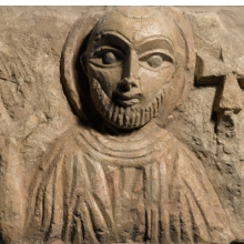 <p><i>Bust of a Saint</i>. Egypt, exact provenance unknown, 4th&ndash;5th century <small>C.E.</small> Limestone, traces of paint, 8 &times; 10<sup>7</sup>&frasl;<sub>16</sub> in. (20.3 &times; 26.5 cm). Brooklyn Museum, Charles Edwin Wilbour Fund, 55.2.3</p>